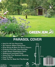 GARDEN PARASOL BROLLY COVER GREEN JEM ZIPPED
