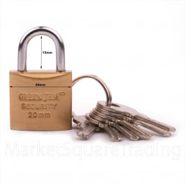 GREEN JEM PADLOCK 20mm SHORT SHACKLE +6 KEYS