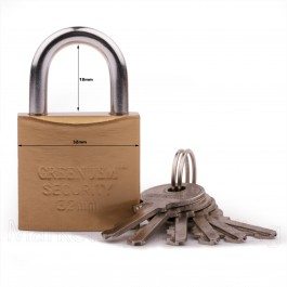 GREEN JEM PADLOCK 32mm SHORT SHACKLE +6 KEYS