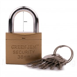 GREEN JEM PADLOCK 38mm SHORT SHACKLE +6 KEYS