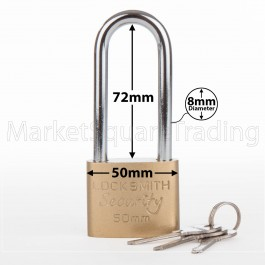 PADLOCK LONG SHACKLE 50MM LOCKSMITH 3 KEYS GOOD QUALITY STRONG METAL GARAGE SHED