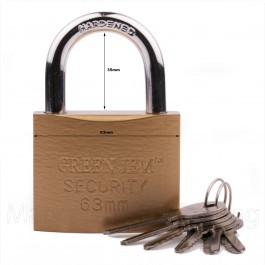 GREEN JEM PADLOCK 63mm SHORT SHACKLE +6 KEYS