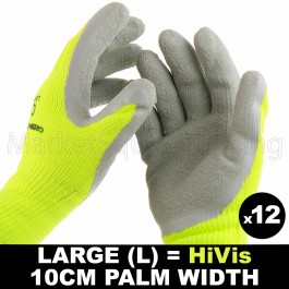 12 PAIR WORK GLOVE LRG HI-VIS GREEN WARM EXTRA THICK WINTER LATEX GRIP SIZE 10CM