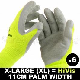 6 PAIRS WORK XLRG GLOVE HI-VIS YELL WARM EXTRA THICK WINTER LATEX GRIP SIZE 11CM
