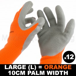 12 PAIR WORK GLOVE LRG HI-VIS ORAN WARM EXTRA THICK WINTER LATEX GRIP SIZE 10CM