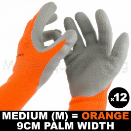 12 PAIR WORK GLOVE MED HI-VIS ORAN WARM EXTRA THICK WINTER LATEX GRIP SIZE 9CM