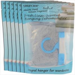 6 PACKS GREEN JEM 500ml DEHUMIDIFIER SCENTED WARDROBE HANGER - FRESH LINEN