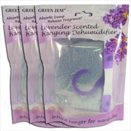 3 PACKS GREEN JEM 500ml DEHUMIDIFIER SCENTED WARDROBE HANGER - LAVENDER SCENTED