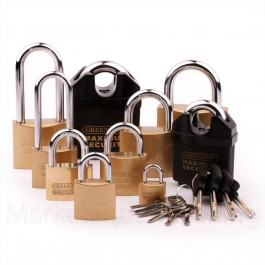 BRASS PADLOCK SML LGE LONG SHORT CLOSED SHACKLE SECURITY GARAGE SHED UPTO 6 KEYS