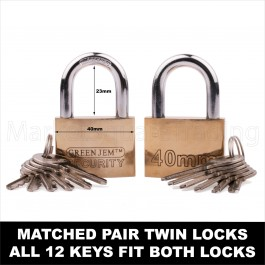 SOLID BRASS KEYED ALIKE 40MM x2 PACK PADLOCK 12 KEYS FIT BOTH LOCKS OUTDOOR SHED