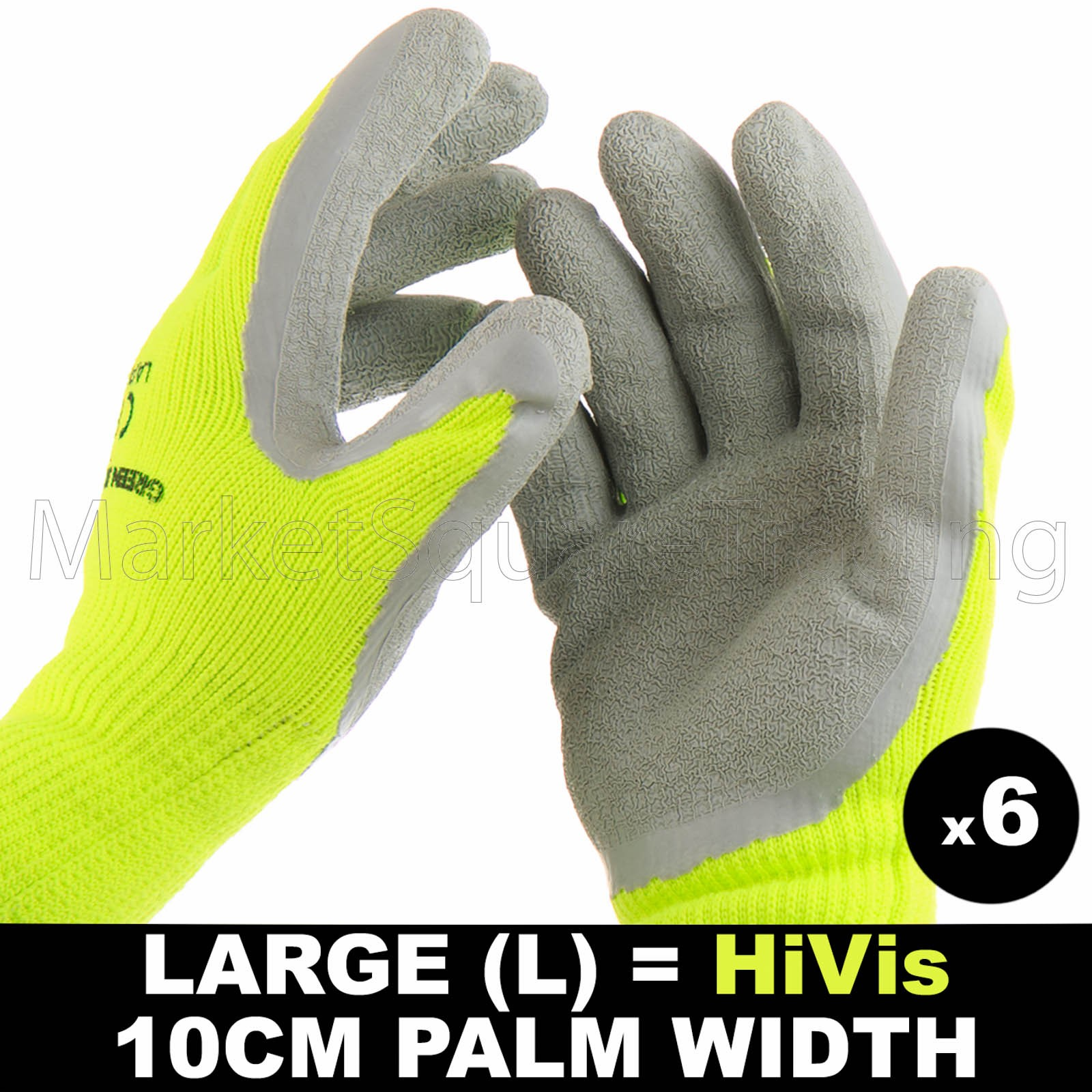 6 PAIR WORK LARGE GLOVE HI-VIS YELL WARM EXTRA THICK WINTER LATEX GRIP SIZE 10CM