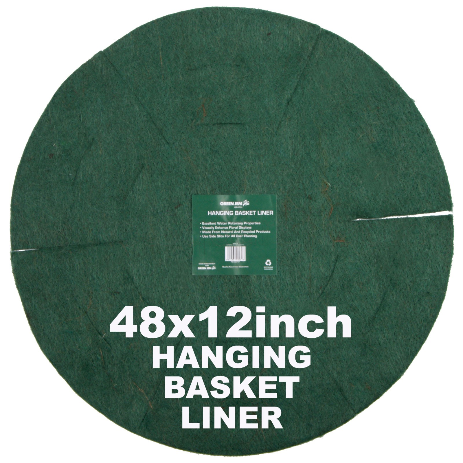 "Green Jem  Hanging Basket Liner (12"") x 48"
