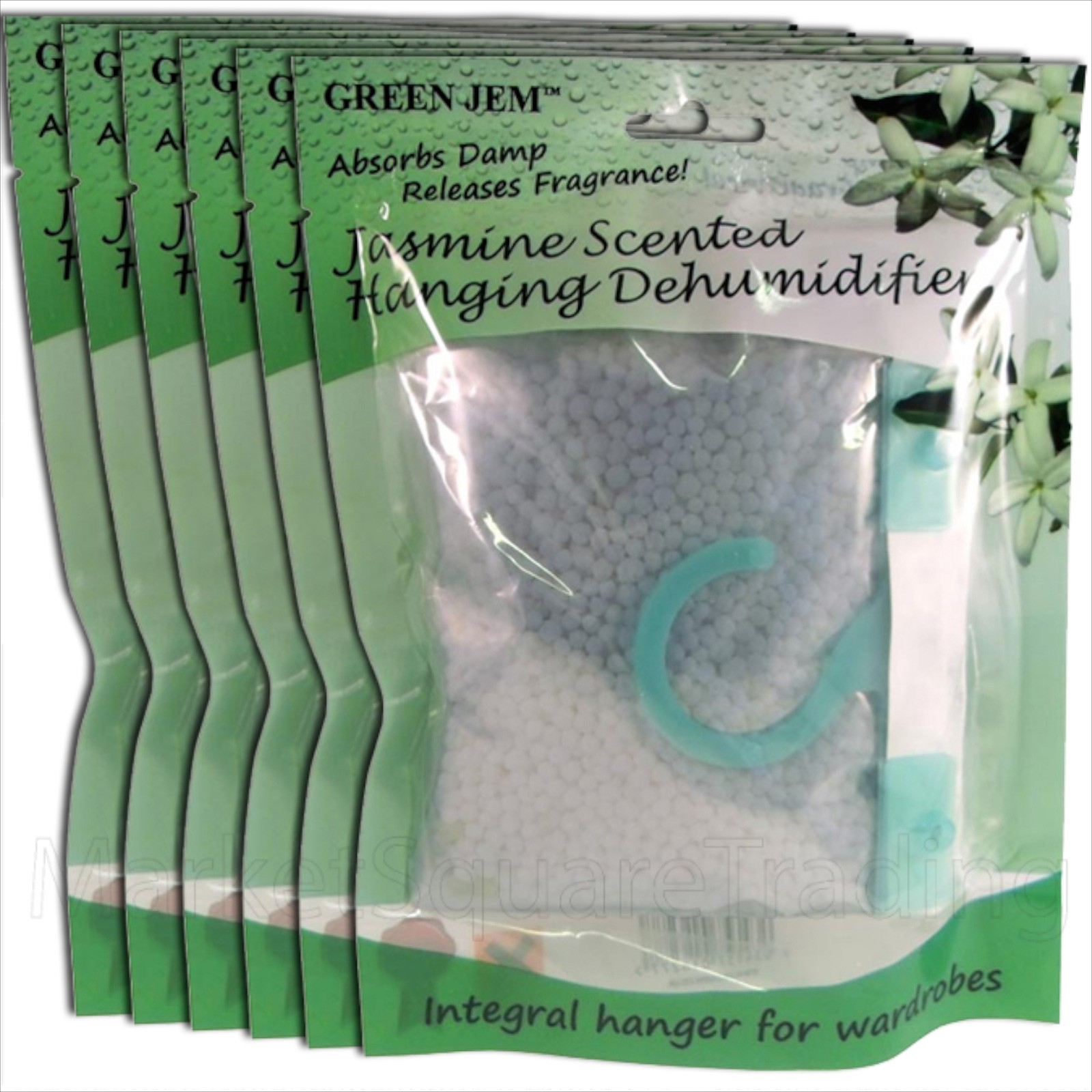 6 PACKS GREEN JEM 500ml DEHUMIDIFIER SCENTED WARDROBE HANGER - JASMINE SCENTED