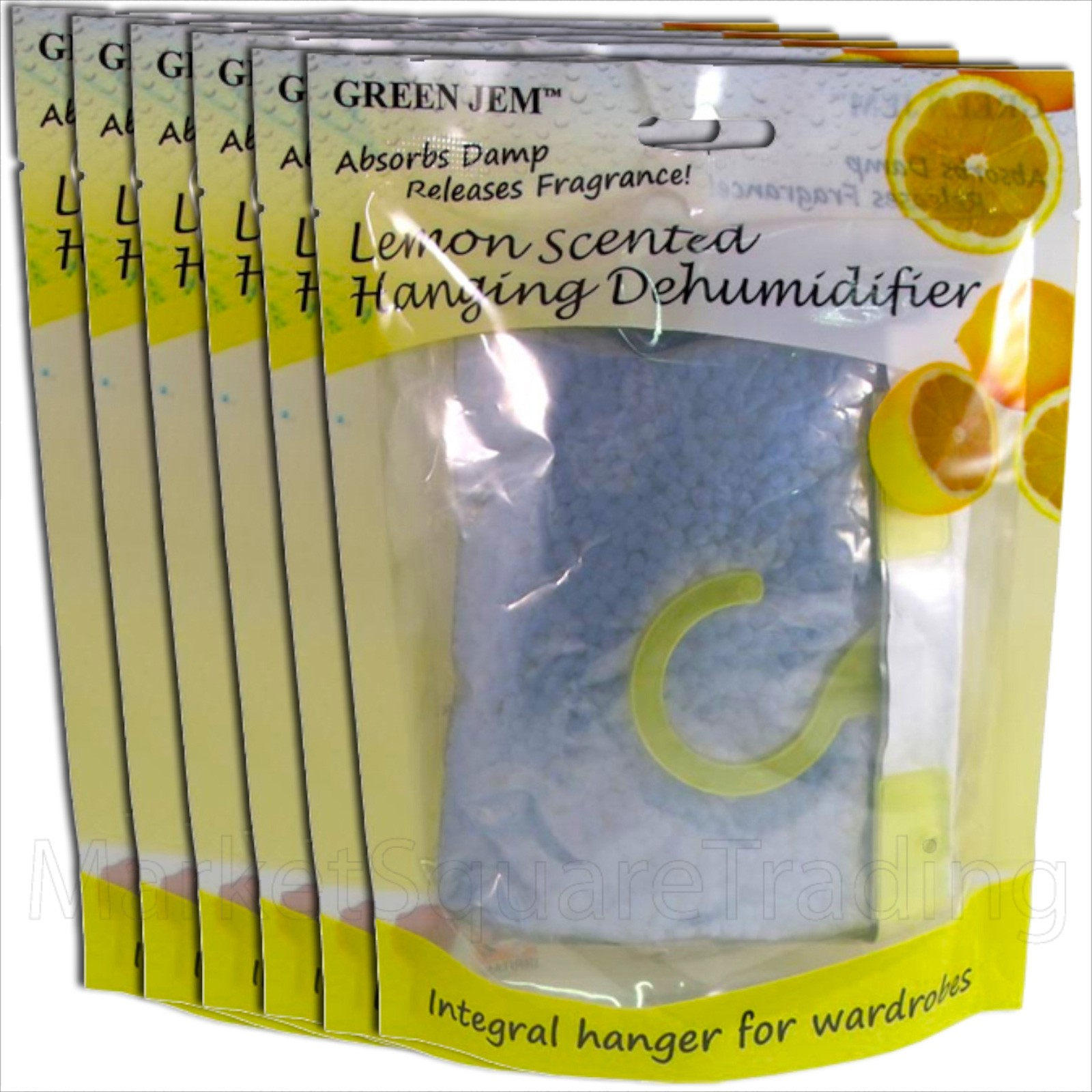 6 PACKS GREEN JEM 500ml DEHUMIDIFIER SCENTED WARDROBE HANGER - LEMON SCENTED