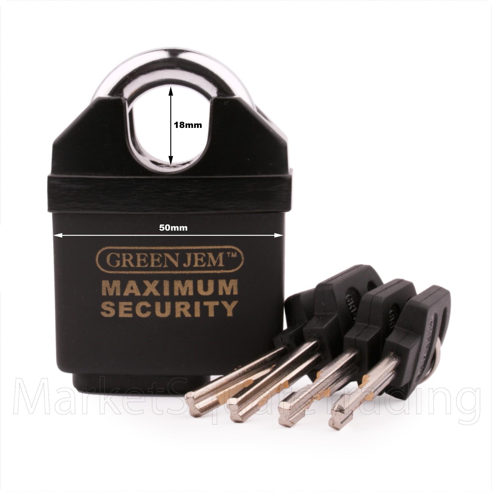 GREEN JEM PADLOCK 50mm CLOSED SHACKLE HIGH SECURITY