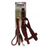 ROPE LEAD WITH LARGE HARNESS RED