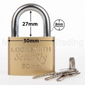PADLOCK 50MM LOCKSMITH 3 KEYS GOOD QUALITY STRONG METAL GARAGE SHED SECURITY