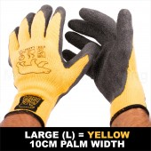 6 X PAIR WORK GARDEN GLOVE WARM EXTRA THICK WINTER LATEX GRIP L SIZE 10CM