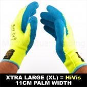 6 X PAIR WORK GARDEN GLOVE WARM EXTRA THICK WINTER LATEX GRIP XL SIZE 11CM