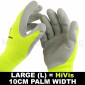 WORK GARDEN GLOVE HI-VIS YELLOW WARM EXTRA THICK WINTER LATEX GRIP LRG SIZE 10CM