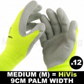 12 PAIR WORK GLOVE MED HI-VIS GREEN WARM EXTRA THICK WINTER LATEX GRIP SIZE 9CM
