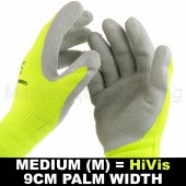 WORK GARDEN GLOVE HI-VIS YELLOW WARM EXTRA THICK WINTER LATEX GRIP MED SIZE 9CM