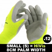 12 PAIR WORK GLOVE SMALL HI-VIS GREEN WARM EXTRA THICK WINTER LATEX GRIP SIZE8CM