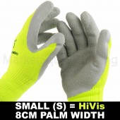 WORK GARDEN GLOVE HI-VIS YELLOW WARM EXTRA THICK WINTER LATEX GRIP S SIZE 8CM