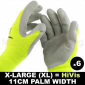 6 PAIRS WORK XLRG GLOVE HI-VIS YELL WARM EXTRA THICK WINTER LATEX GRIP SIZE 11CM
