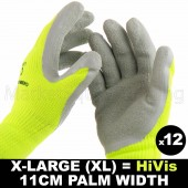 12 PAIR WORK GLOVE XL HI-VIS GREEN WARM EXTRA THICK WINTER LATEX GRIP SIZE 11CM