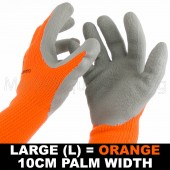 WORK GARDEN GLOVE HI-VIS ORANGE WARM EXTRA THICK WINTER LATEX GRIP LRG SIZE 10CM
