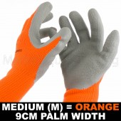 WORK GARDEN GLOVE HI-VIS ORANGE WARM EXTRA THICK WINTER LATEX GRIP MED SIZE 9CM