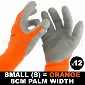 12 PAIR WORK GLOVE SMALL HI-VIS ORAN WARM EXTRA THICK WINTER LATEX GRIP SIZE 8CM