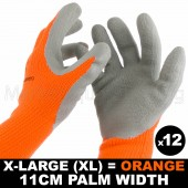 12 PAIR WORK GLOVE XL HI-VIS ORANGE WARM EXTRA THICK WINTER LATEX GRIP SIZE 11CM