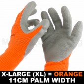 WORK GARDEN GLOVE HI-VIS ORANGE WARM EXTRA THICK WINTER LATEX GRIP XLRG SIZE 11CM