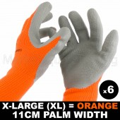6 PAIRS WORK XLRG GLOVE HI-VIS ORANGE WARM EXTRA THICK WINTER LATEX GRIP 11CM
