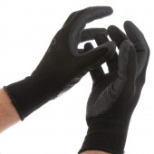 GLOVES LARGE WORK GARDEN BLACK FLEXIBLE POLYESTER LATEX GRIP MASTER