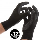12 PAIRS OF GLOVES LARGE WORK GARDEN BLACK FLEXIBLE POLYESTER LATEX GRIP MASTER