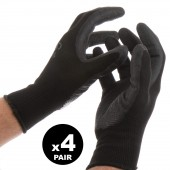 4 PAIRS OF GLOVES XLARGE WORK GARDEN BLACK FLEXIBLE POLYESTER LATEX GRIP MASTER