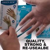 Green Jem Vinyl Latex Free Powdered Disposable Readi Glove