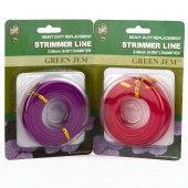 Strimmer Line Mixed Pack Green Jem Pertrol Strimmers 2 x*15mtr 2.00mm+2.4mm Rolls