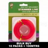 Strimmer Line Green Jem Petrol Strimmers 10 x*10mtr 2.40mm Rolls