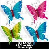 Green Jem Butterfly Large 2XBlue-1XGreen-1XPink