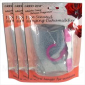 3 PACKS GREEN JEM 500ml DEHUMIDIFIER SCENTED WARDROBE HANGER - ROSE SCENTED