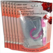 6 PACKS GREEN JEM 500ml DEHUMIDIFIER SCENTED WARDROBE HANGER - ROSE SCENTED