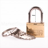 GREEN JEM PADLOCK 20mm SHORT SHACKLE +6 KEYS SOLID BRASS