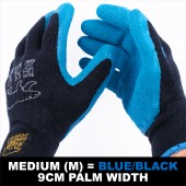 6 X PAIR WORK GARDEN GLOVE WARM EXTRA THICK WINTER LATEX GRIP M SIZE 9CM