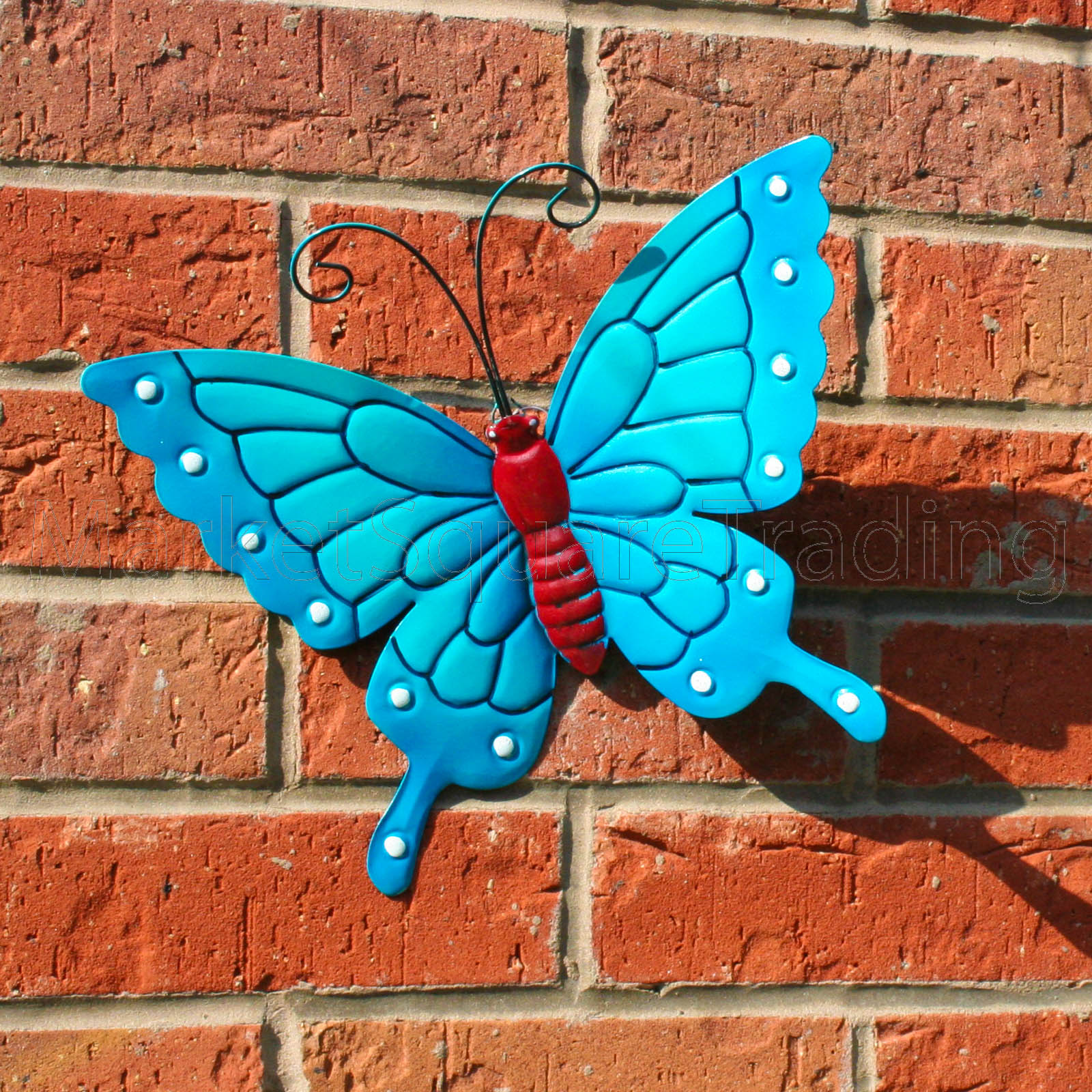 Butterfly large new blue metal butterflies wall art for Outdoor butterfly decor