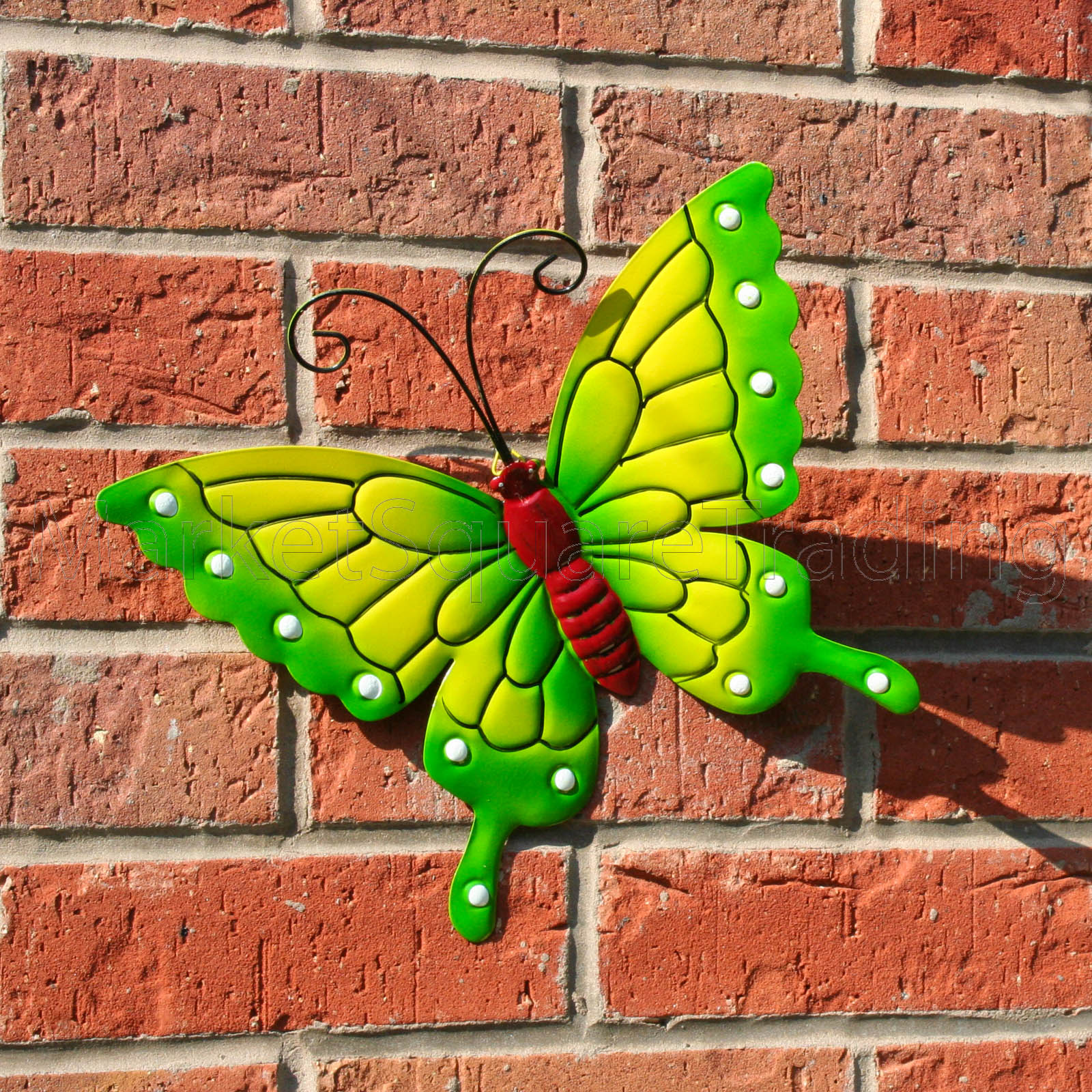 BUTTERFLY LARGE NEW GREEN METAL BUTTERFLIES WALL ART OUTDOOR GARDEN DECORATIO