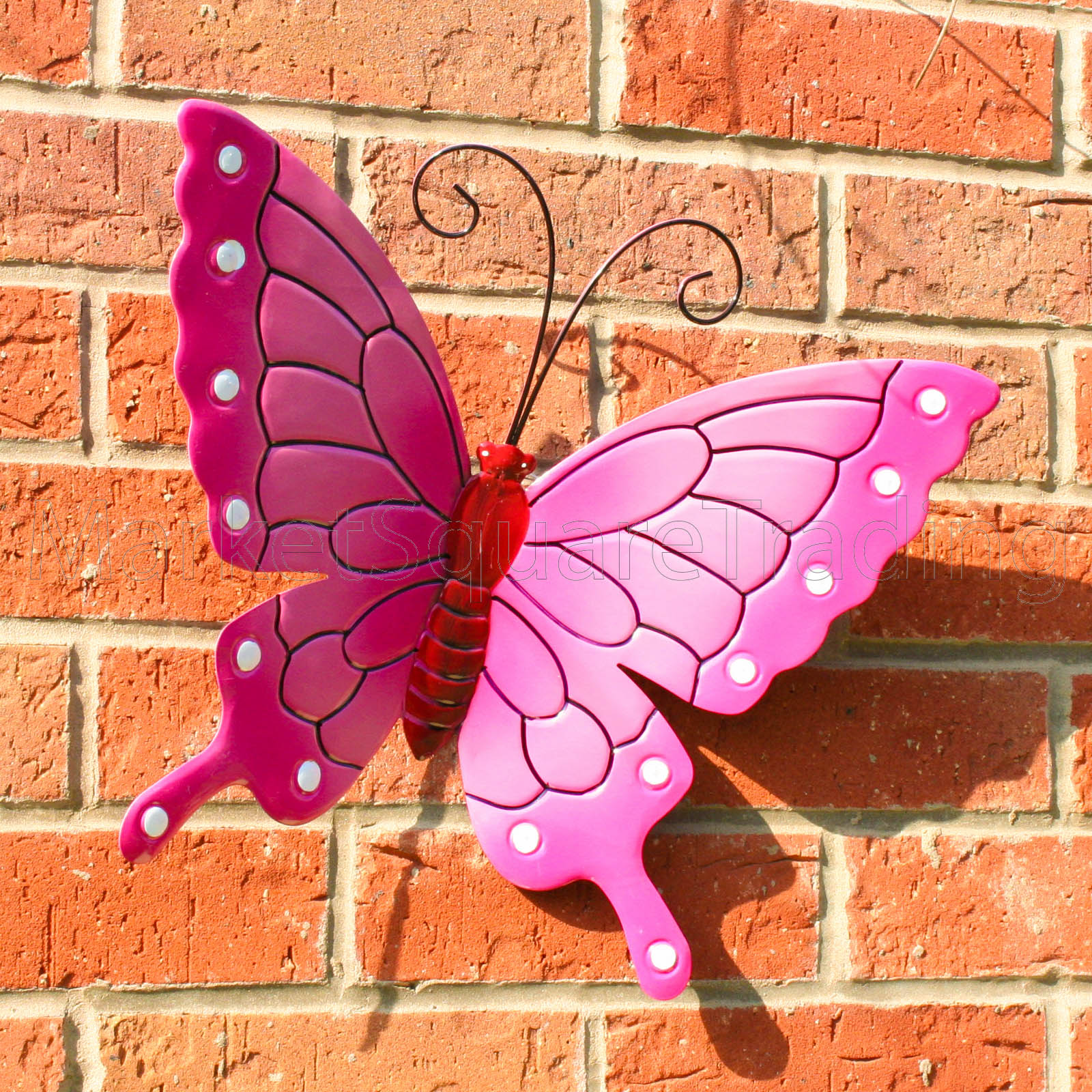 BUTTERFLY OUTDOOR EXT LRG NEW PINK METAL BUTTERFLIES GARDEN WALL ART DECORATE